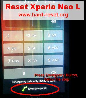 sony xperia neo l hard reset code