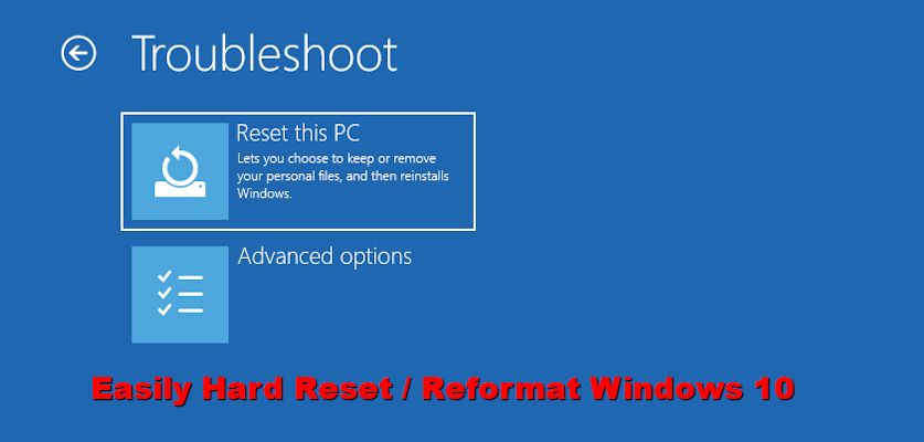 hard reset windows 10 computer / laptop
